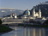 Domes of the Cathedral and Kollegienkirche and the Salzach River  Salzburg  Austria