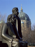 Statues of Marx and Engels  with the Dom (Cathedral)  Behind  Berlin  Germany