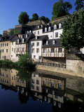 Houses Along the River in the Old Town  Luxembourg City  Luxembourg