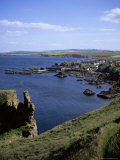 Coastline Looking South with Village of St Abbs  Berwickshire  Borders  Scotland