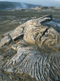 Kilauea Volcano Crater Showing Solidified Ropy Lava Called Pahoehoe  the Big Island  Hawaii  USA