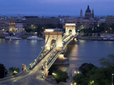 View Over Chain Bridge and St Stephens Basilica  Budapest  Hungary