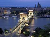 View Over Chain Bridge and St Stephens Basilica  Budapest  Hungary