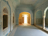 Ornate Passageway to Open Door  Samode Palace  Jaipur  Rajasthan State  India