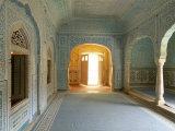 Ornate Passageway to Open Door  Samode Palace  Jaipur  Rajasthan State  India