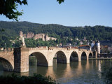 The Old Bridge Over the River Neckar  with the Castle in the Distance  Heidelberg  Germany