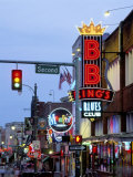 Beale Street at Night  Memphis  Tennessee  USA