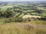 The Vale of Evesham from the Main Ridge of the Malvern Hills  Worcestershire  England