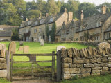 Dry Stone Wall  Gate and Stone Cottages  Snowshill Village  the Cotswolds  Gloucestershire  England
