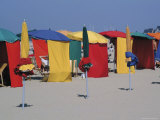 Multi-Coloured Beach Tents and Umbrellas  Deauville  Calvados  Normandy  France