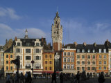 Flemish Buildings in the Grand Place Tower in Centre  Lille  France