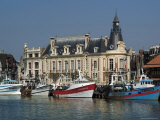 Hotel De Ville and Fishing Boats at Mouth of the River Touques  Trouville  Calvados  Normandy