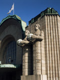 Statues on Front of the Railway Station  Helsinki  Finland  Scandinavia