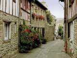 Narrow Street with Half Timbered Houses  Cote De Granit Rose  Brittany  France