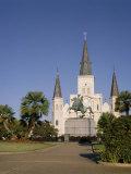 Spires of Christian Cathedral  St Louis Cathedral  New Orleans  Louisiana  USA