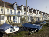 Sailing Boats and Holiday Homes on the Seafront  Whitstable  Kent  England  United Kingdom