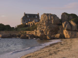 Beach House Built Behind Rocks  Tregastel  Cote De Granit Rose  Cotes d'Armor  Brittany  France
