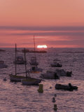Sunset Over Boats Moored at Sea  Tregastel  Cote De Granit Rose  Cotes d'Armor  Brittany  France