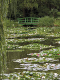 Japanese Bridge and Lily Pond in the Garden of the Impressionist Painter Claude Monet  Eure  France