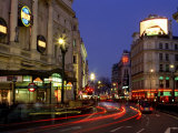 Traffic Trails and Theatre Signs at Night Near Piccadilly Circus  London  England