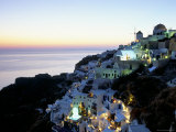 View Over the Town of Oia at Twilight with Aegean Sea in the Background  Cyclades Islands  Greece