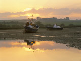Fishing Boat at Sunset on the Aln Estuary at Low Tide  Alnmouth  Northumberland  England