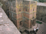 Looking Down on Entrance of Biet Giorgis  Rock Cut Christian Church  Lalibela  Ethiopia