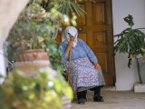 Old Woman Dozing at Monastery  Paleokastritsa  Corfu  Greek Islands  Greece