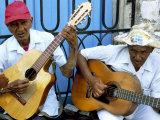 Musicians Playing Guitars  Havana Viejo  Havana  Cuba  West Indies  Central America
