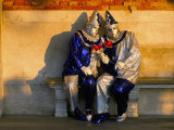 Couple Dressed in Masks and Costumes Taking Part in Venice Carnival  Venice  Veneto  Italy