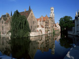 Looking Towards the Belfry of Belfort Hallen  Bruges  Belgium