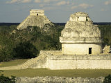 Mayan Observatory and the Great Pyramid Beyond  Chichen Itza  Unesco World Heritage Site  Mexico