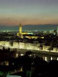 City Skyline at Night  Florence  Tuscany  Italy
