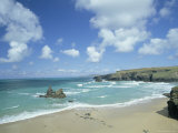 Porthcothan Bay with Trevose Head in Background  Cornwall  England  United Kingdom