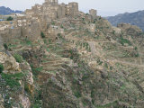 Mountain Fortress Village and Terraced Fields  Shahara  Yemen  Arabia  Middle East