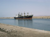 Northbound Ship  Suez Canal  Egypt  North Africa  Africa