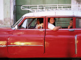 Women Waiting in Taxi in the Early Morning  Havana  Cuba  West Indies  Central America