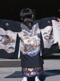 Back View of a Small Boyin Traditional Clothing at the Shichi-Go-San Festival  Harajuku  Japan