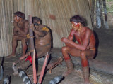 Kamayura Indians Playing Flutes Inside Hut  Xingu Area  Brazil  South America
