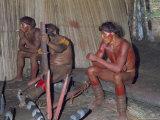 Kamayura Indians Playing Flutes Inside Hut  Xingu Area  Brazil  South America