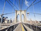 Pedestrian Walkway on the Brooklyn Bridge Looking Towards Manhattan  New York City  New York  USA