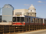 MBTA (T Train) Crossing Longfellow Bridge  Boston  Massachusetts  New England  USA