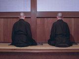 Two Monks During Za-Zen Meditation in the Sodo or Zazendo Hall  Elheiji Zen Monastery  Japan