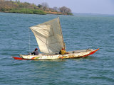 Canoe with Sail  River Gambia  the Gambia  West Africa  Africa