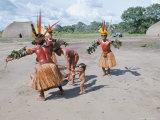 Kamayura Indians Dancing the Fish Dance  Xingu  Brazil  South America