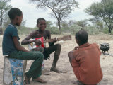 Bushman Boys  Kalahari  Botswana  Africa
