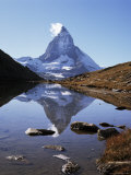The Matterhorn  4478M  from the East  Over Riffel Lake  Swiss Alps  Switzerland