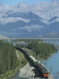 Canadian National Railways Goods Train Along Athabasca River  Jasper National Park  Rocky Mountains