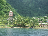 Village of Soufriere and Church from the Sea  Dominica  Windward Islands