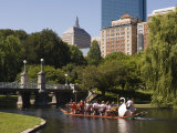 Lagoon Bridge and Swan Boat in the Public Garden  Boston  Massachusetts  United States of America
